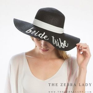 Bride Tribe Embroidery Straw Floppy Sun Hat